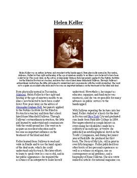 Info Reading Text - Women's History Month: Helen Keller (n