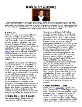 Info Reading Text - Women's History Month: Ruth Ginsburg (no prep/sub plans)