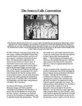 Info Reading Text - Women's History Month: Seneca Falls Convention (no prep)