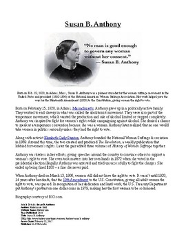 Info Reading Text - Women's History Month: Susan B. Anthony (no prep/sub plans)