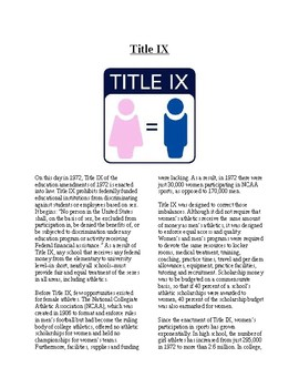 Info Reading Text - Women's History Month: Title IX (no prep/sub plans)