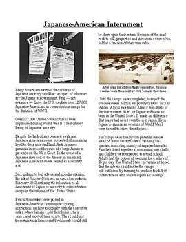 Info Reading Text - World War II: Japanese-American Internment (no prep/sub)