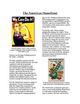 Info Reading Text - World War II: The American Homefront (no prep/sub plan)