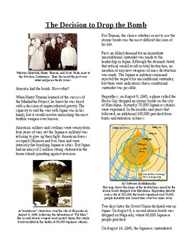 Info Reading Text - World War II: The Decision to Drop the Bomb (no prep/sub)