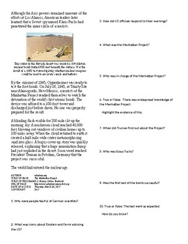 Info Reading Text - World War II: The Manhattan Project (no prep/sub plans)