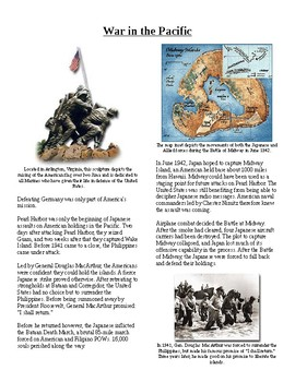 Info Reading Text - World War II: War in the Pacific (no prep/sub plans)