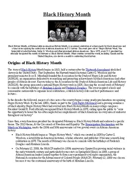 Info Reading Text and Crossword - Black History Month (no prep/sub plans)