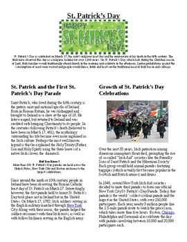 Info Reading Text and Vocab - US Holidays: St. Patrick's Day (no prep/sub plan)