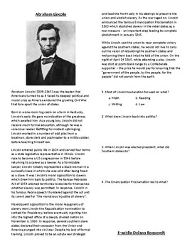 Info Reading Vocab - President's Day: Famous US Presidents (no prep/sub plan)
