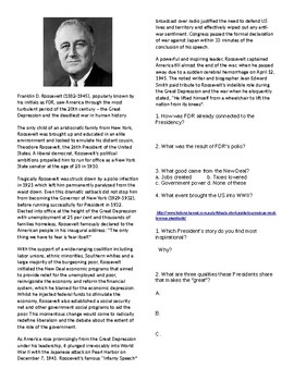 Info Reading Vocab - President's Day: Famous US Presidents (no prep/sub plan)