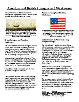 Info Text - American Rev: American and British Strengths/Weaknesses (No Prep)