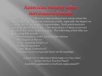 Info Text - American Society after Revolution Bundle (No Prep Sub Plans)