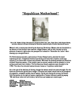 Info Text - American Society after Revolution: Republican Motherhood (No Prep)