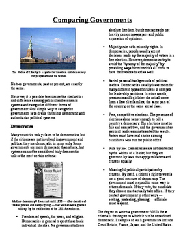 Info Text - Comparative Economic and Political Systems: Governments (No Prep)