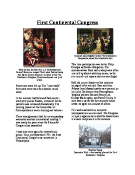 Info Text - Moving Toward Independence: First Continental Congress (No Prep)