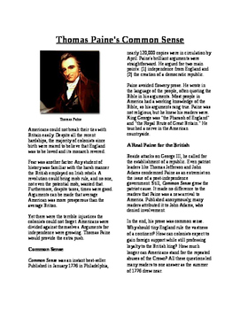 Info Text - Moving Toward Independence: Thomas Paine's Common Sense (No Prep)