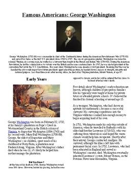 Info Text Vocab - Famous Americans: George Washington (no prep/sub plan)