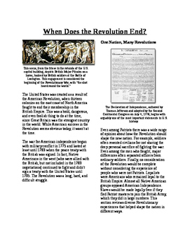 Info Text - What Does the Revolution Mean?: When does Revolution End? (No Prep)