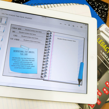 Info Text or Nonfiction Analysis Task Cards, Digital and Printable BUNDLE