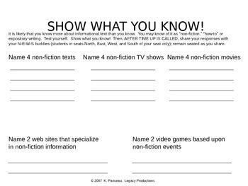 Informational Explanatory Expository Prior Knowledge Organizer