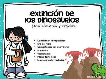 Extinción de los dinosaurios-Info, vocab y actividades