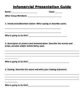 Infomercial Presentation Planning Guide