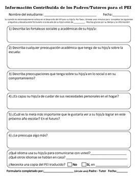 Información Contribuida de los Padres/Tutores para el PEI.