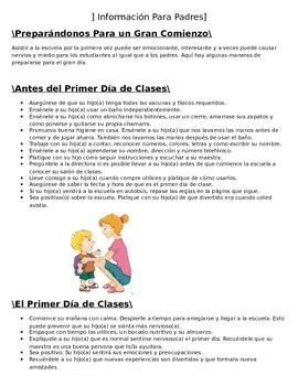 Informacion Para Padres- Antes del Cominezo de Kinder