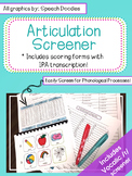 Articulation Screener - Artic Screener - Informal Articulation Assessment
