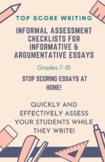 Informal Assessment Checklists Grades 7-10: Informative &