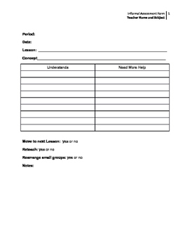 Informal Assessment Form