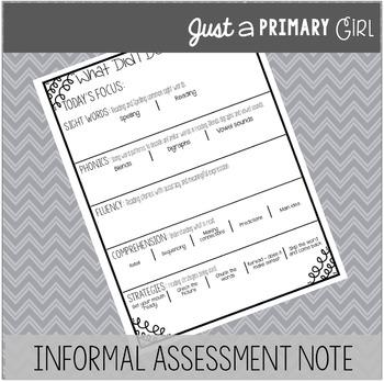 Informal Assessment Note