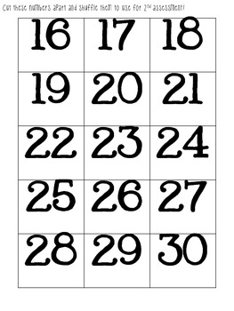 Informal Assessments, Numbers 1-30