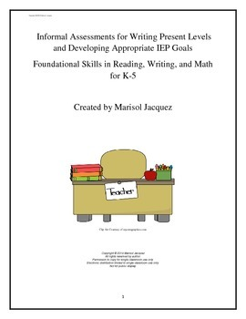 Assessments for IEP Goal Writing