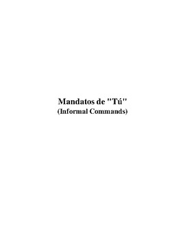 "Informal Commands - Mandatos de ""tu"""