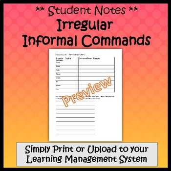 Informal Commands in Spanish (Negative & Affirmative) - Guided Notes and Key