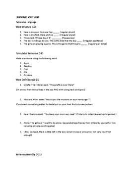 Informal Expressive/Receptive Language Screening Instrument