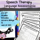 Speech Language Assessments {Expressive Receptive plus Sev