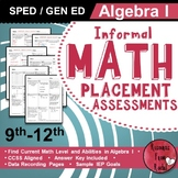 Informal Math Assessments - Algebra 1