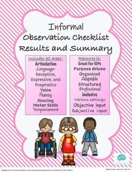Informal Observation Checklist with Report and Summary Section