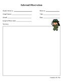 Informal Observation Summary Sheet