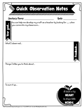 Informal Observation Or Learning Walk Feedback Form