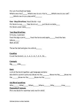 Speech Therapy- Play-based assessment Instrument