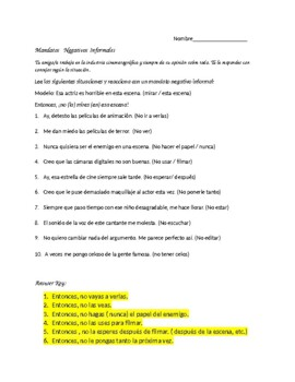 Spanish 2 Informal Positive and Negative Command Practice with situations