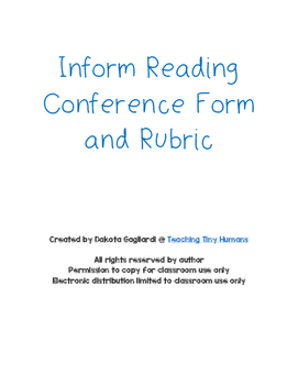 Informal Reading Conference Form and Rubric