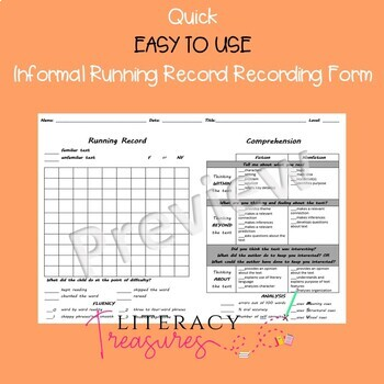 Informal Running Record and Comprehension Check--EASY TO USE 100 Word Box Form