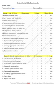 Informal Social Skills Assessment