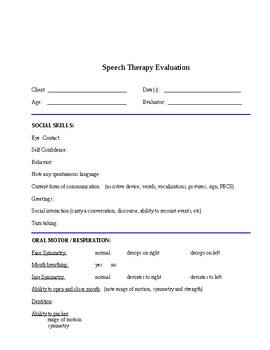 Informal Speech Therapy Evaluation Form