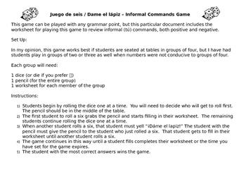 Informal (Tú) Commands Game