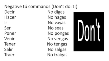 Informal tú commands in Spanish